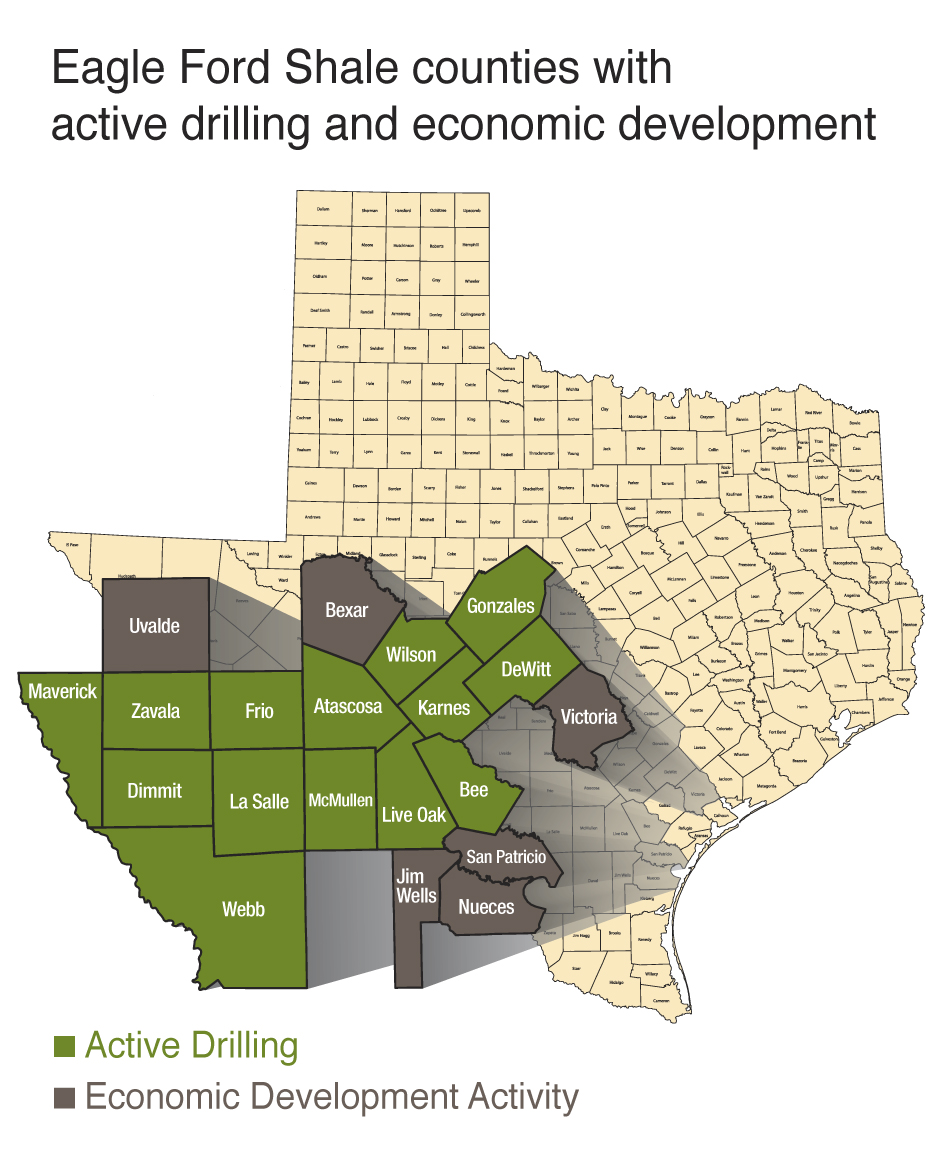 Eagle Ford Shale - 20 county map of Texas