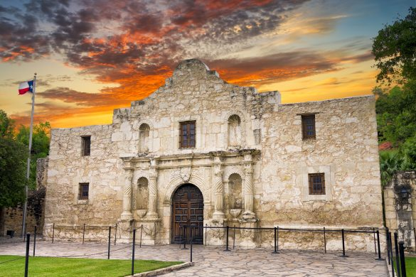 Exterior view of the historic Alamo in San Antonio, Texas shortly after sunrise