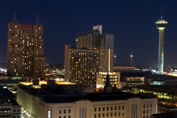 Aerial view of San Antonio, Texas at night