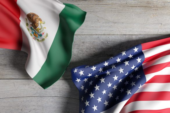 3d rendering of an United States of America and Mexico flag waving